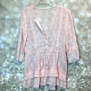 Women chiffon pink blouse embroidered, size m